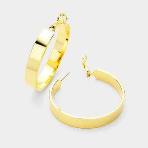 "Jewelry - 14K Gold Dipped Hoop Earrings 1.5""/4cm"